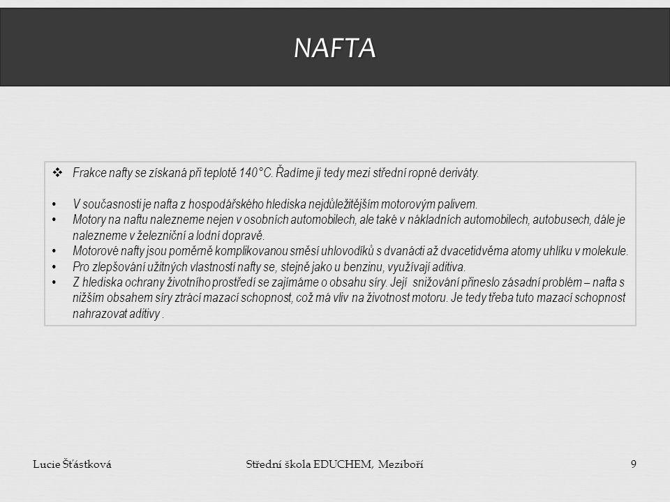 NAFTA Lucie ŠťástkováStřední škola EDUCHEM, Meziboří9  Frakce nafty se získaná při teplotě 140°C. Řadíme ji tedy mezi střední ropné deriváty. V souča