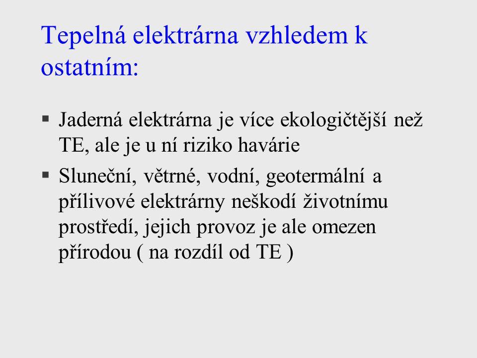 Tepelná elektrárna vzhledem k ostatním: §Jaderná elektrárna je více ekologičtější než TE, ale je u ní riziko havárie §Sluneční, větrné, vodní, geotermální a přílivové elektrárny neškodí životnímu prostředí, jejich provoz je ale omezen přírodou ( na rozdíl od TE )