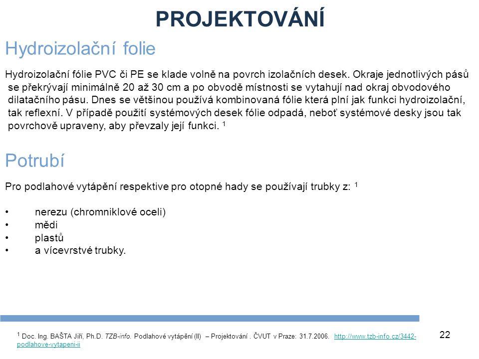 PROJEKTOVÁNÍ 22 1 Doc. Ing. BAŠTA Jiří, Ph.D. TZB-info. Podlahové vytápění (II) – Projektování. ČVUT v Praze: 31.7.2006. http://www.tzb-info.cz/3442-