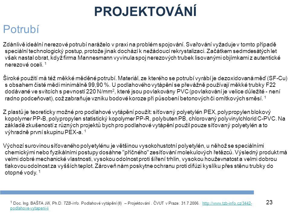 PROJEKTOVÁNÍ 23 1 Doc. Ing. BAŠTA Jiří, Ph.D. TZB-info. Podlahové vytápění (II) – Projektování. ČVUT v Praze: 31.7.2006. http://www.tzb-info.cz/3442-