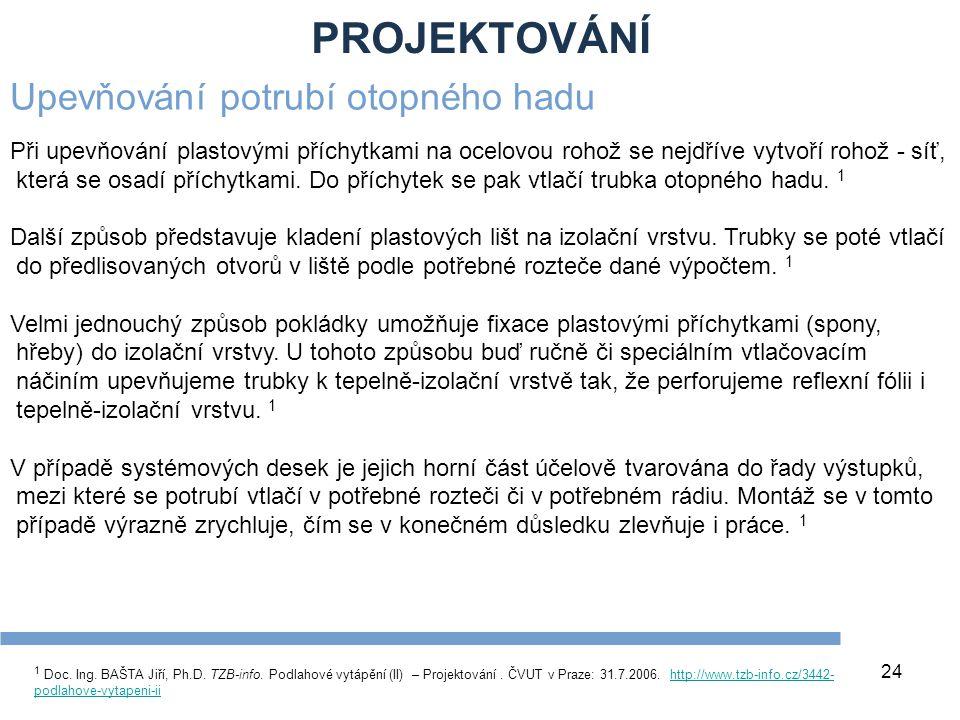 PROJEKTOVÁNÍ 24 1 Doc. Ing. BAŠTA Jiří, Ph.D. TZB-info. Podlahové vytápění (II) – Projektování. ČVUT v Praze: 31.7.2006. http://www.tzb-info.cz/3442-