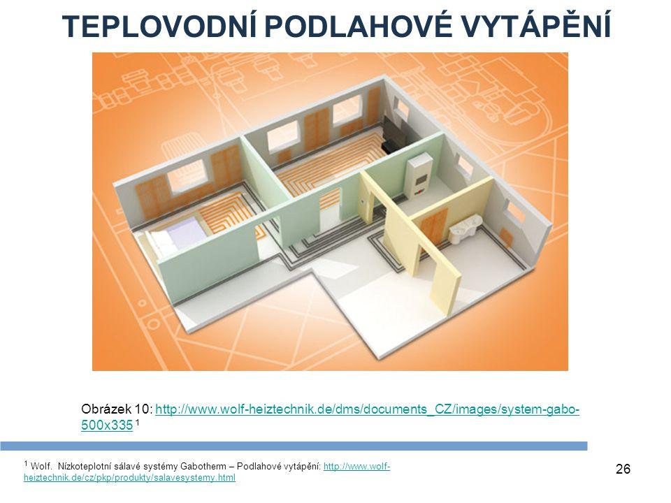 TEPLOVODNÍ PODLAHOVÉ VYTÁPĚNÍ 26 1 Wolf. Nízkoteplotní sálavé systémy Gabotherm – Podlahové vytápění: http://www.wolf- heiztechnik.de/cz/pkp/produkty/