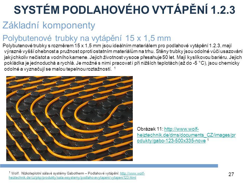 SYSTÉM PODLAHOVÉHO VYTÁPĚNÍ 1.2.3 27 1 Wolf. Nízkoteplotní sálavé systémy Gabotherm – Podlahové vytápění: http://www.wolf- heiztechnik.de/cz/pkp/produ