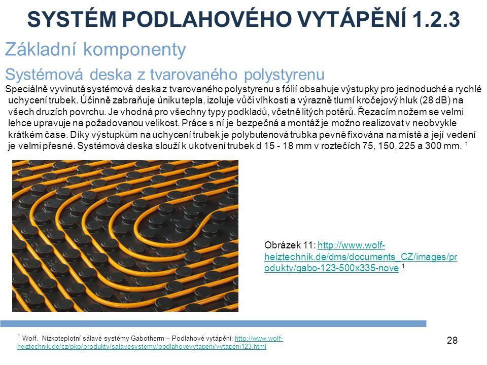 SYSTÉM PODLAHOVÉHO VYTÁPĚNÍ 1.2.3 28 1 Wolf. Nízkoteplotní sálavé systémy Gabotherm – Podlahové vytápění: http://www.wolf- heiztechnik.de/cz/pkp/produ