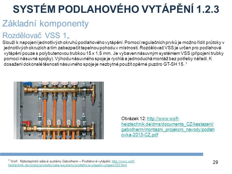 SYSTÉM PODLAHOVÉHO VYTÁPĚNÍ 1.2.3 29 1 Wolf. Nízkoteplotní sálavé systémy Gabotherm – Podlahové vytápění: http://www.wolf- heiztechnik.de/cz/pkp/produ