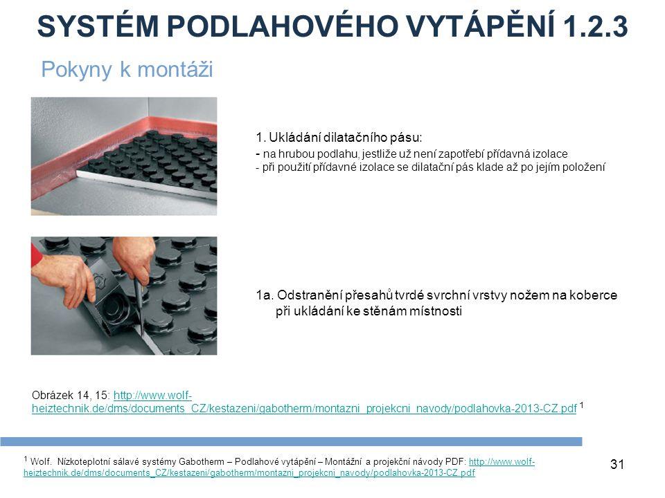 SYSTÉM PODLAHOVÉHO VYTÁPĚNÍ 1.2.3 31 1 Wolf. Nízkoteplotní sálavé systémy Gabotherm – Podlahové vytápění – Montážní a projekční návody PDF: http://www
