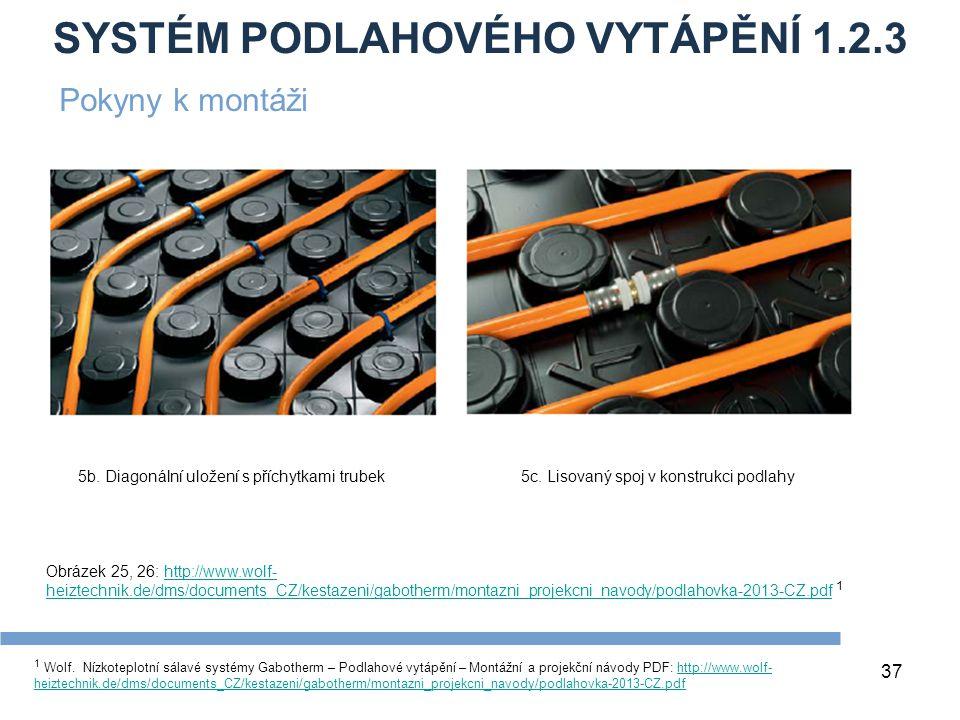 SYSTÉM PODLAHOVÉHO VYTÁPĚNÍ 1.2.3 37 1 Wolf. Nízkoteplotní sálavé systémy Gabotherm – Podlahové vytápění – Montážní a projekční návody PDF: http://www