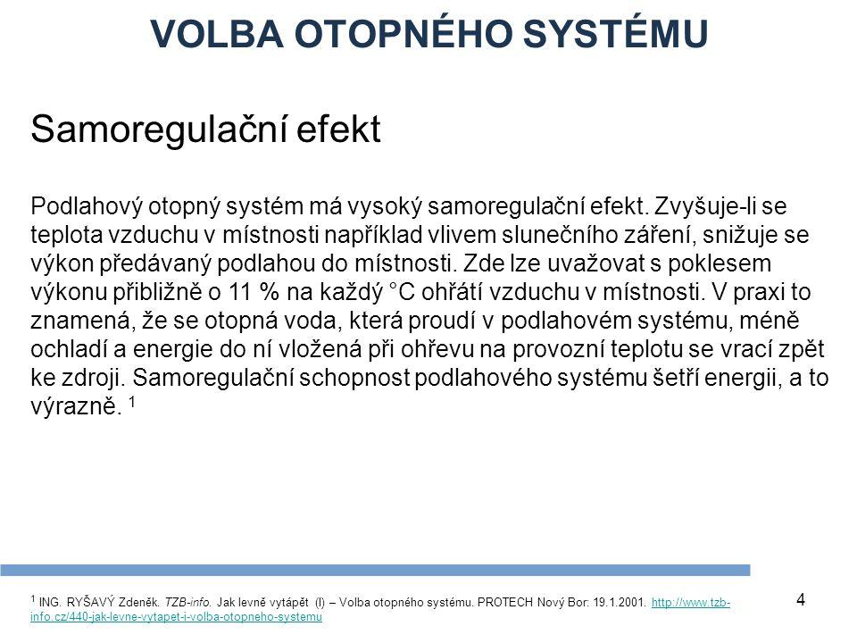 VOLBA OTOPNÉHO SYSTÉMU 4 Samoregulační efekt Podlahový otopný systém má vysoký samoregulační efekt. Zvyšuje-li se teplota vzduchu v místnosti napříkla