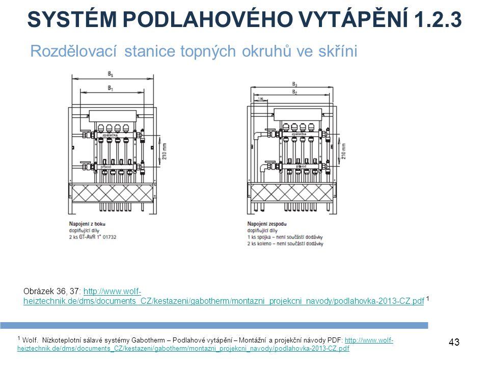 SYSTÉM PODLAHOVÉHO VYTÁPĚNÍ 1.2.3 43 1 Wolf. Nízkoteplotní sálavé systémy Gabotherm – Podlahové vytápění – Montážní a projekční návody PDF: http://www
