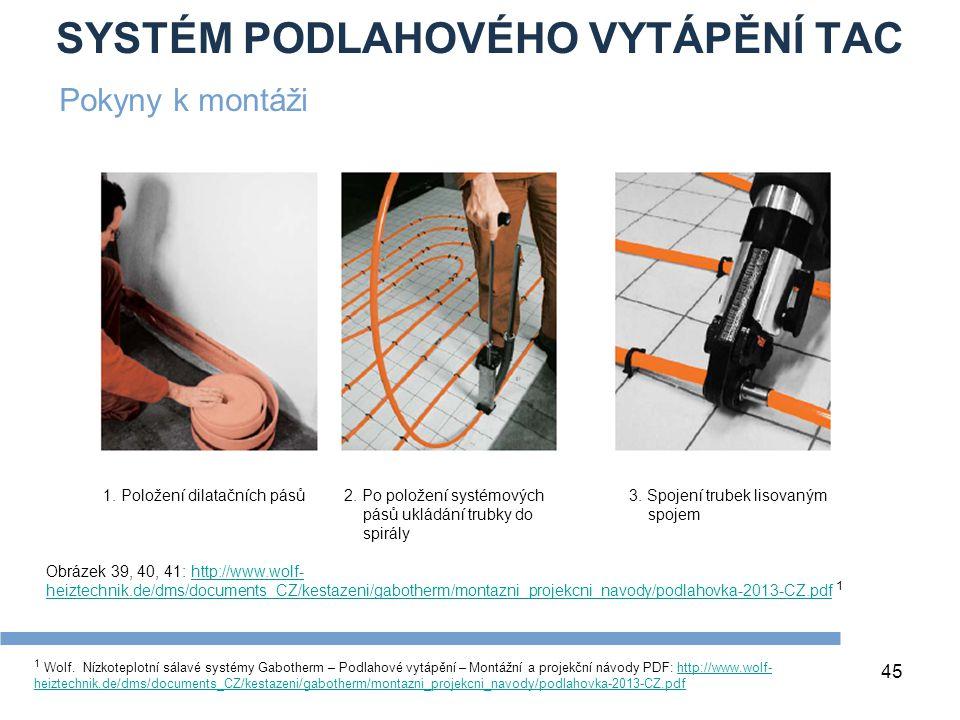 SYSTÉM PODLAHOVÉHO VYTÁPĚNÍ TAC 45 1 Wolf. Nízkoteplotní sálavé systémy Gabotherm – Podlahové vytápění – Montážní a projekční návody PDF: http://www.w