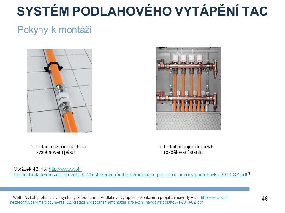 SYSTÉM PODLAHOVÉHO VYTÁPĚNÍ TAC 46 1 Wolf. Nízkoteplotní sálavé systémy Gabotherm – Podlahové vytápění – Montážní a projekční návody PDF: http://www.w