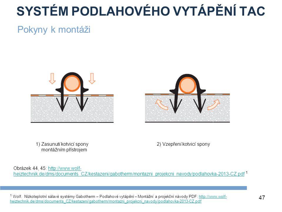 SYSTÉM PODLAHOVÉHO VYTÁPĚNÍ TAC 47 1 Wolf. Nízkoteplotní sálavé systémy Gabotherm – Podlahové vytápění – Montážní a projekční návody PDF: http://www.w