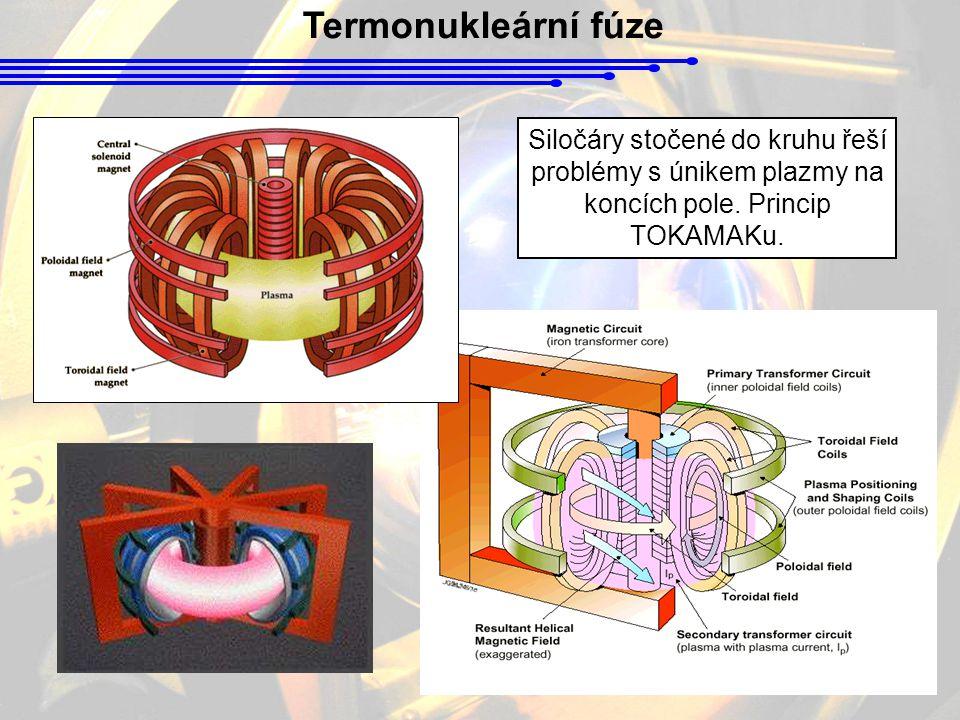 Termonukleární fúze Siločáry stočené do kruhu řeší problémy s únikem plazmy na koncích pole. Princip TOKAMAKu.