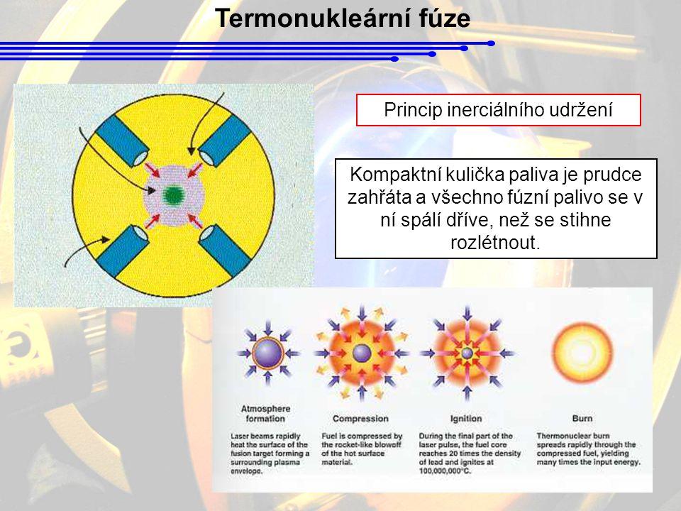 Termonukleární fúze Princip inerciálního udržení Kompaktní kulička paliva je prudce zahřáta a všechno fúzní palivo se v ní spálí dříve, než se stihne