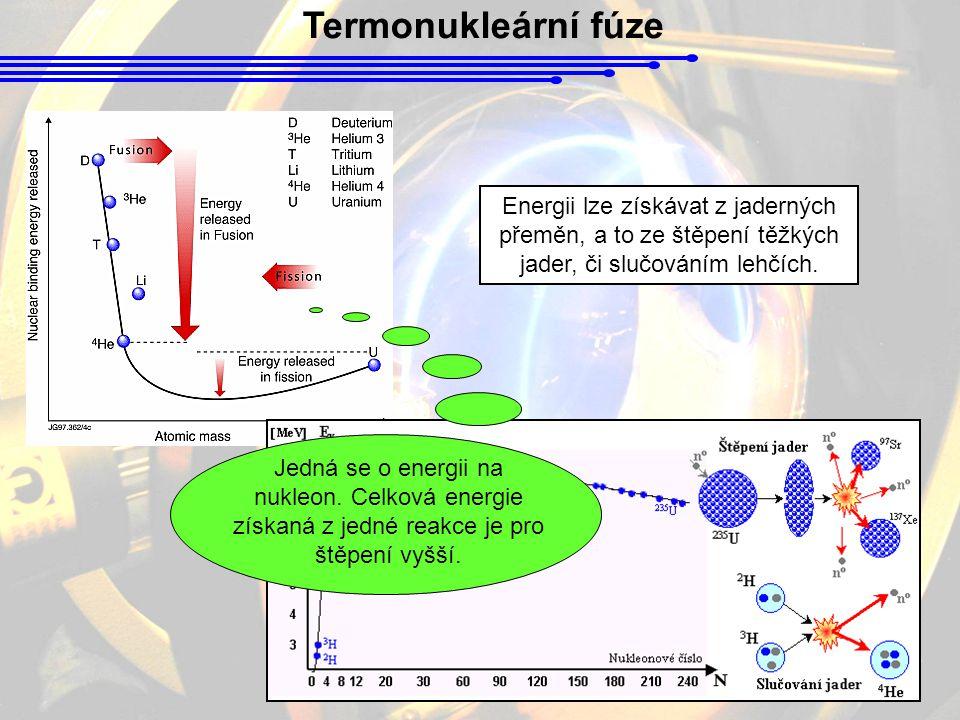 Termonukleární fúze Energii lze získávat z jaderných přeměn, a to ze štěpení těžkých jader, či slučováním lehčích. Jedná se o energii na nukleon. Celk