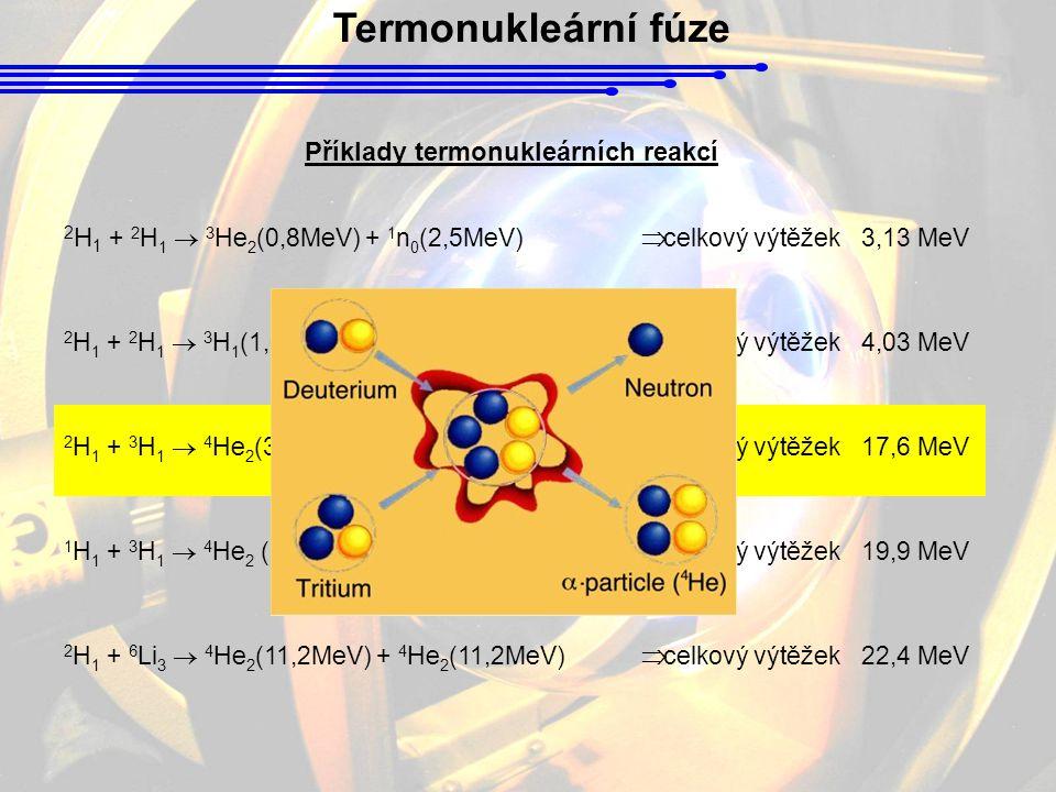 Termonukleární fúze 2 H 1 + 2 H 1  3 He 2 (0,8MeV) + 1 n 0 (2,5MeV)  celkový výtěžek 3,13 MeV 2 H 1 + 2 H 1  3 H 1 (1,0MeV) + 1 H 1 (3,0MeV)  celk