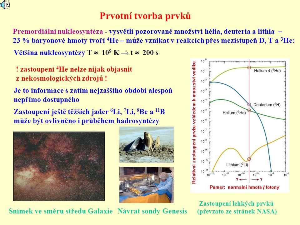 Prvotní tvorba prvků Premordiální nukleosyntéza - vysvětlí pozorované množství hélia, deuteria a lithia – 23 % baryonové hmoty tvoří 4 He – může vznik