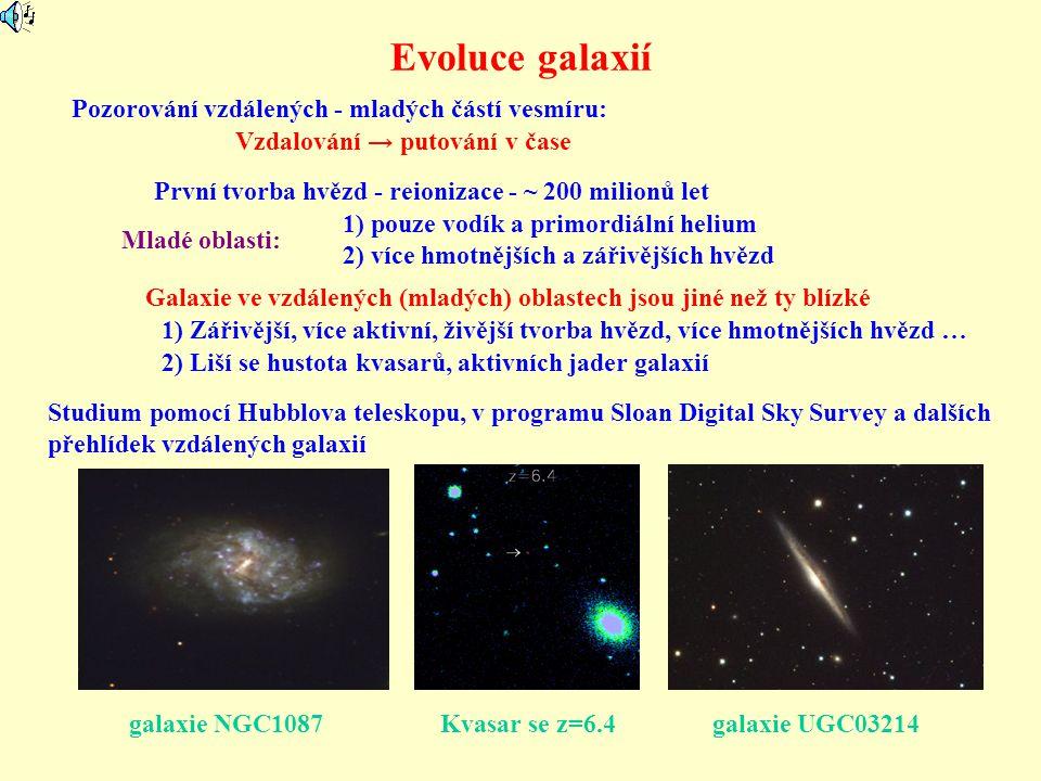 Evoluce galaxií Pozorování vzdálených - mladých částí vesmíru: Vzdalování → putování v čase První tvorba hvězd - reionizace - ~ 200 milionů let Mladé