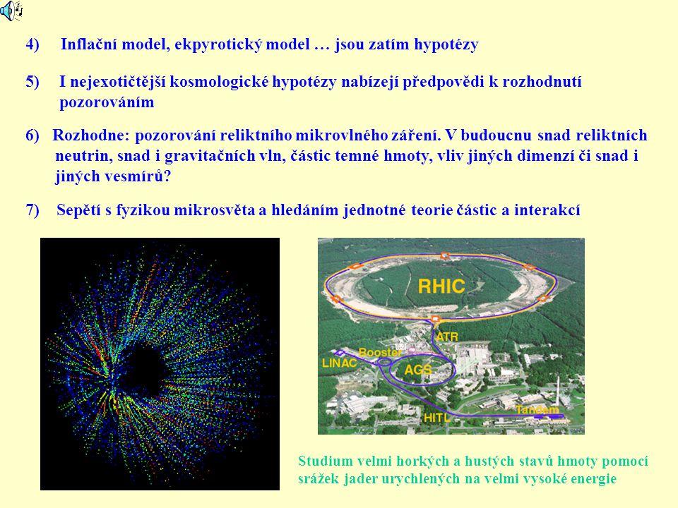 4) Inflační model, ekpyrotický model … jsou zatím hypotézy 5)I nejexotičtější kosmologické hypotézy nabízejí předpovědi k rozhodnutí pozorováním 6) Ro