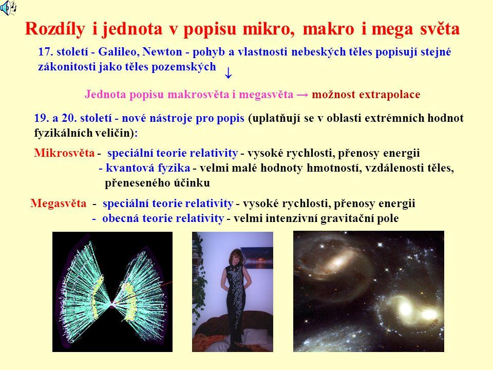 Rozdíly i jednota v popisu mikro, makro i mega světa 17. století - Galileo, Newton - pohyb a vlastnosti nebeských těles popisují stejné zákonitosti ja