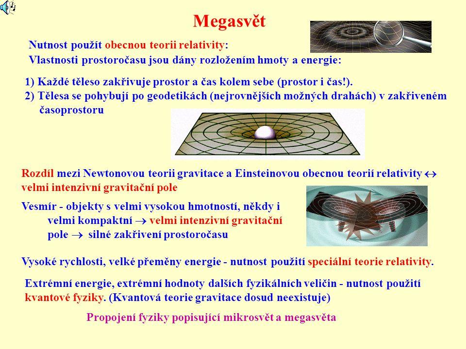 Megasvět Nutnost použít obecnou teorii relativity: Vlastnosti prostoročasu jsou dány rozložením hmoty a energie: 1) Každé těleso zakřivuje prostor a č