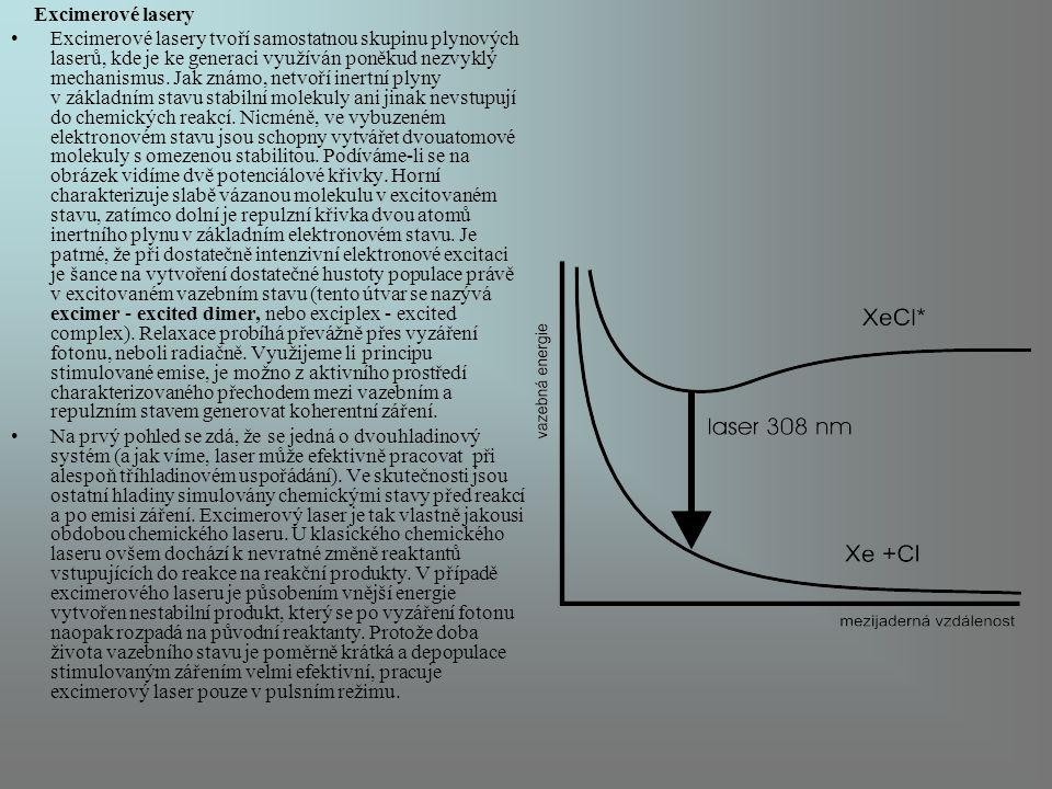 Excimerové lasery Excimerové lasery tvoří samostatnou skupinu plynových laserů, kde je ke generaci využíván poněkud nezvyklý mechanismus. Jak známo, n