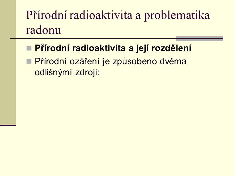 Přírodní radioaktivita a problematika radonu Přírodní radioaktivita a její rozdělení Přírodní ozáření je způsobeno dvěma odlišnými zdroji: