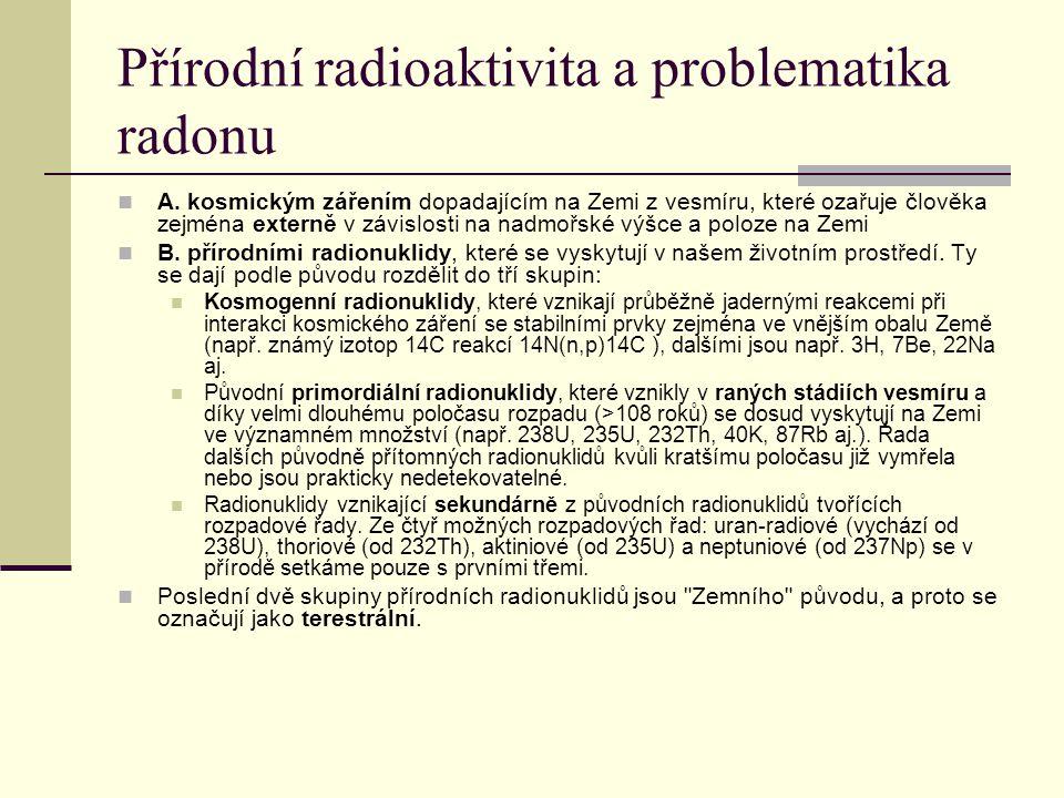 Přírodní radioaktivita a problematika radonu A. kosmickým zářením dopadajícím na Zemi z vesmíru, které ozařuje člověka zejména externě v závislosti na