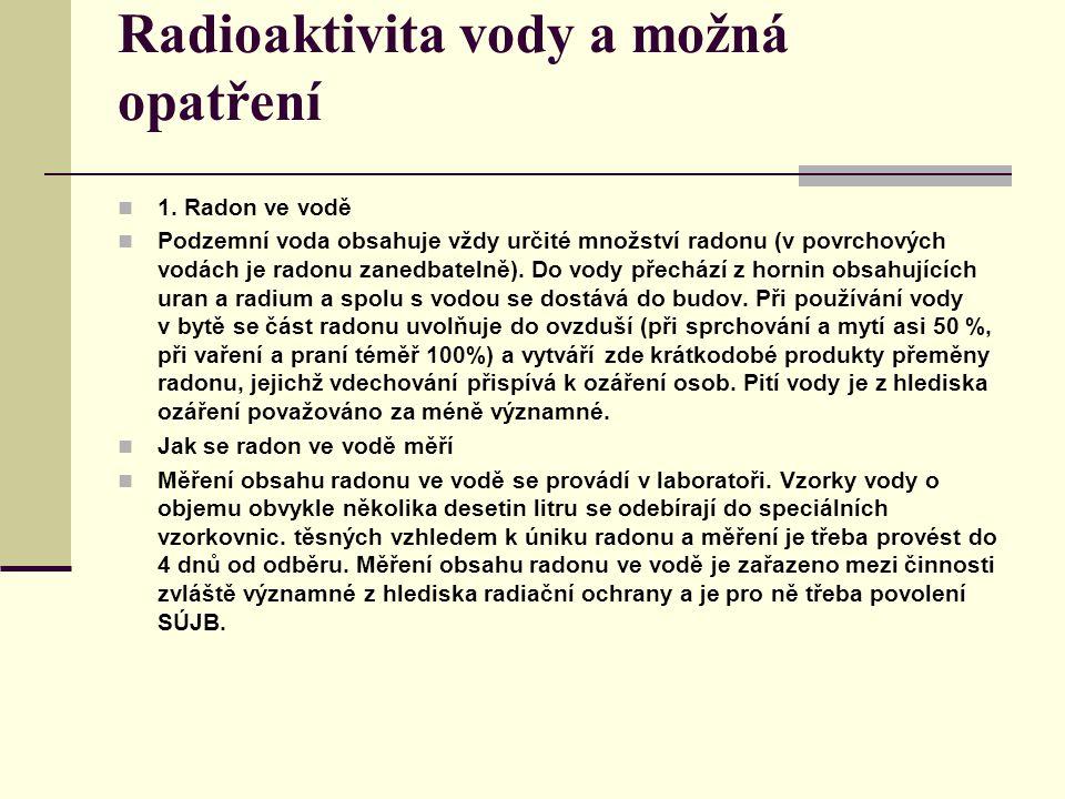 1. Radon ve vodě Podzemní voda obsahuje vždy určité množství radonu (v povrchových vodách je radonu zanedbatelně). Do vody přechází z hornin obsahujíc