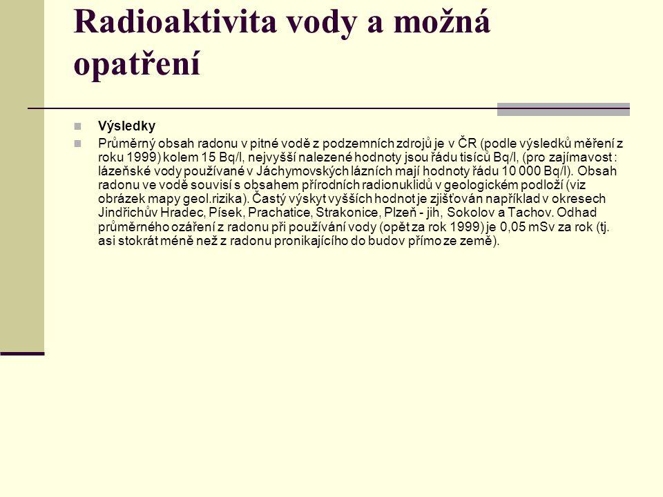 Radioaktivita vody a možná opatření Výsledky Průměrný obsah radonu v pitné vodě z podzemních zdrojů je v ČR (podle výsledků měření z roku 1999) kolem