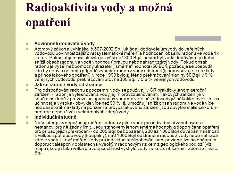 Radioaktivita vody a možná opatření Povinnosti dodavatelů vody Atomový zákon a vyhláška č.307/2002 Sb. ukládají dodavatelům vody do veřejných vodovodů