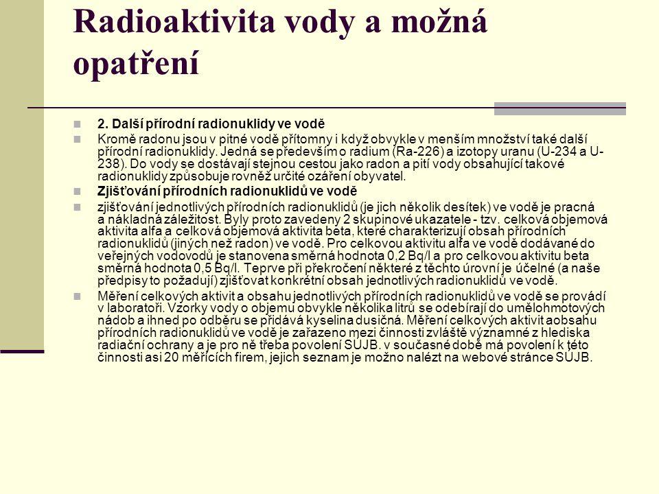 Radioaktivita vody a možná opatření 2. Další přírodní radionuklidy ve vodě Kromě radonu jsou v pitné vodě přítomny i když obvykle v menším množství ta