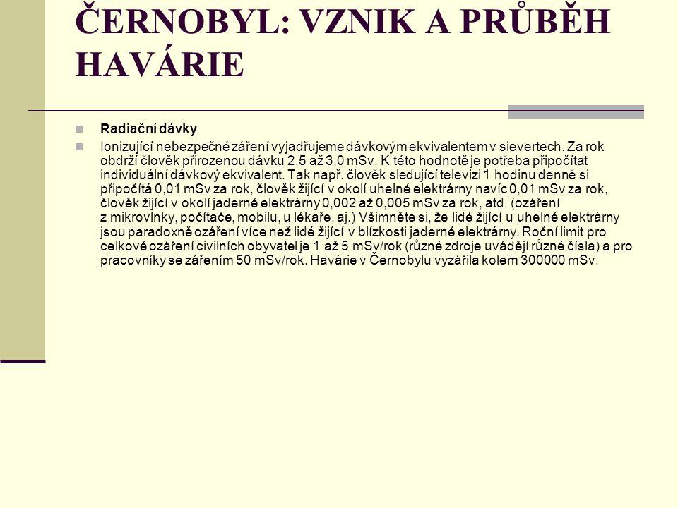 ČERNOBYL: VZNIK A PRŮBĚH HAVÁRIE Radiační dávky Ionizující nebezpečné záření vyjadřujeme dávkovým ekvivalentem v sievertech. Za rok obdrží člověk přir