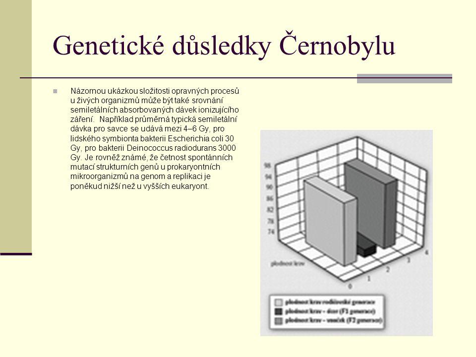 Genetické důsledky Černobylu Názornou ukázkou složitosti opravných procesů u živých organizmů může být také srovnání semiletálních absorbovaných dávek