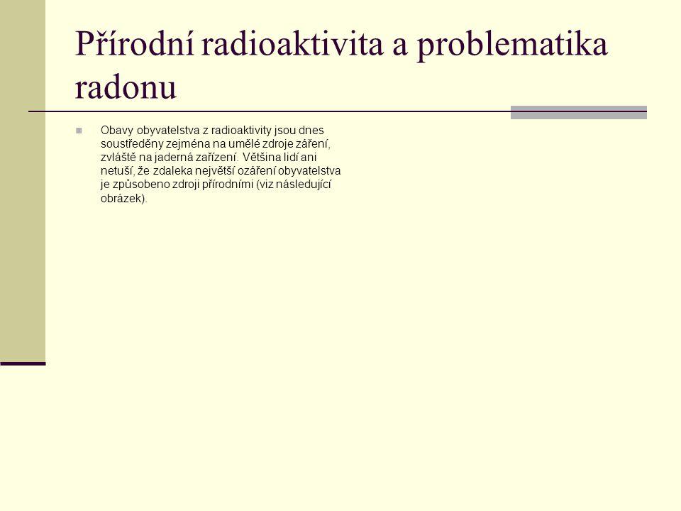 Přírodní radioaktivita a problematika radonu Obavy obyvatelstva z radioaktivity jsou dnes soustředěny zejména na umělé zdroje záření, zvláště na jader