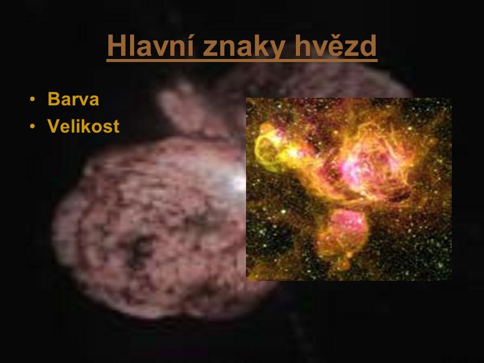 Barva a velikost Hvězdy lze rozdělit podle barvy do několika skupin.