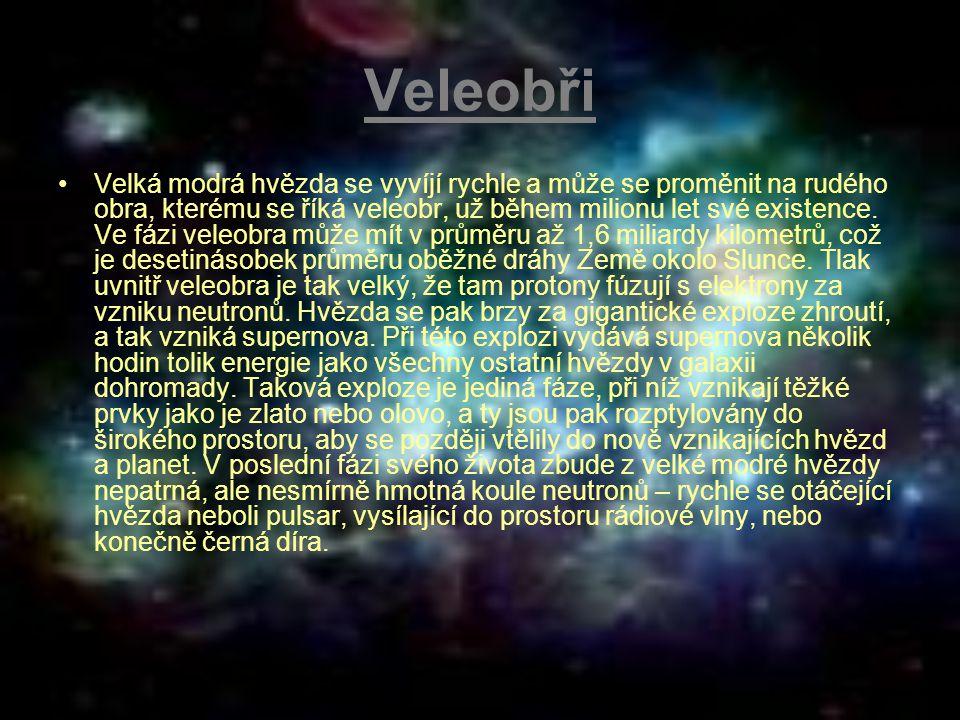 Veleobři Velká modrá hvězda se vyvíjí rychle a může se proměnit na rudého obra, kterému se říká veleobr, už během milionu let své existence. Ve fázi v