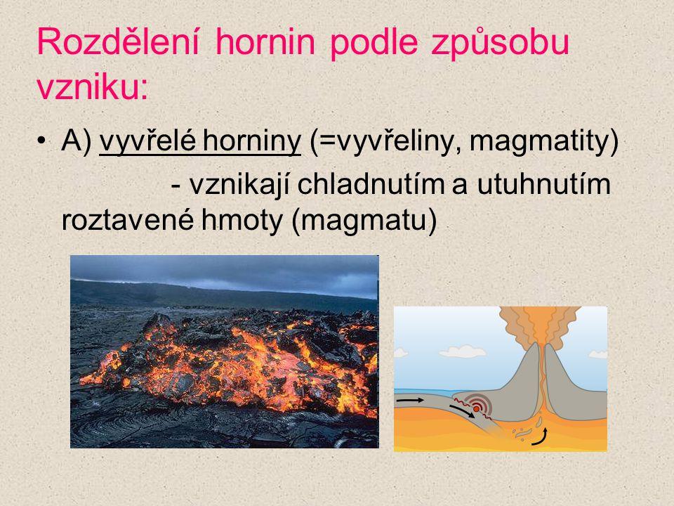 Rozdělení hornin podle způsobu vzniku: A) vyvřelé horniny (=vyvřeliny, magmatity) - vznikají chladnutím a utuhnutím roztavené hmoty (magmatu)