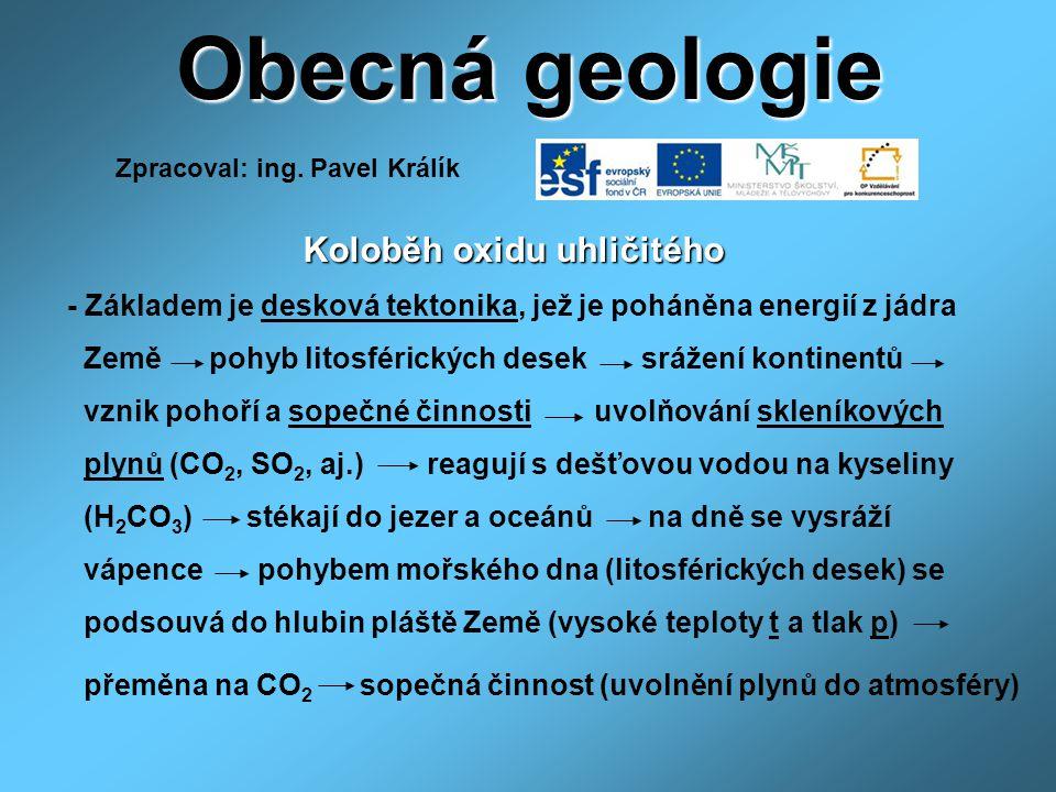 Obecná geologie CO 2,SO 2 oteplování, ochlazování Země magma + CO 2 rozložení CaCO 3 t, p usazování CaCO 3 rozpouštění CaCO 3 CO 2 +H 2 O H 2 CO 3 fotosyntéza CO 2 +H 2 O deštné pralesy foto autor