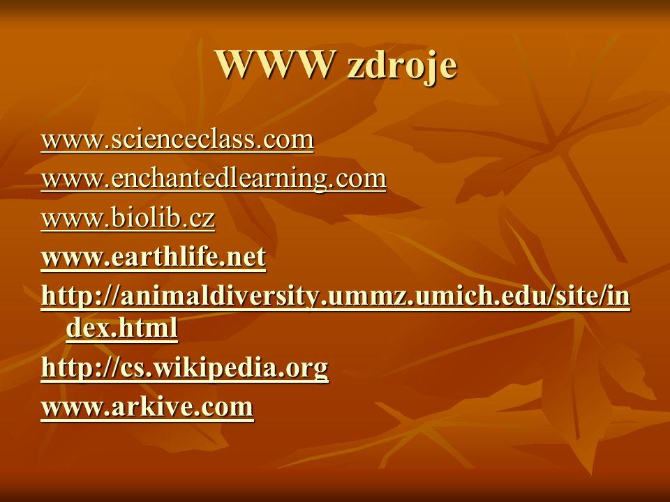 WWW zdroje www.scienceclass.com www.enchantedlearning.com www.biolib.cz www.earthlife.net http://animaldiversity.ummz.umich.edu/site/in dex.html http://animaldiversity.ummz.umich.edu/site/in dex.html http://cs.wikipedia.org www.arkive.com