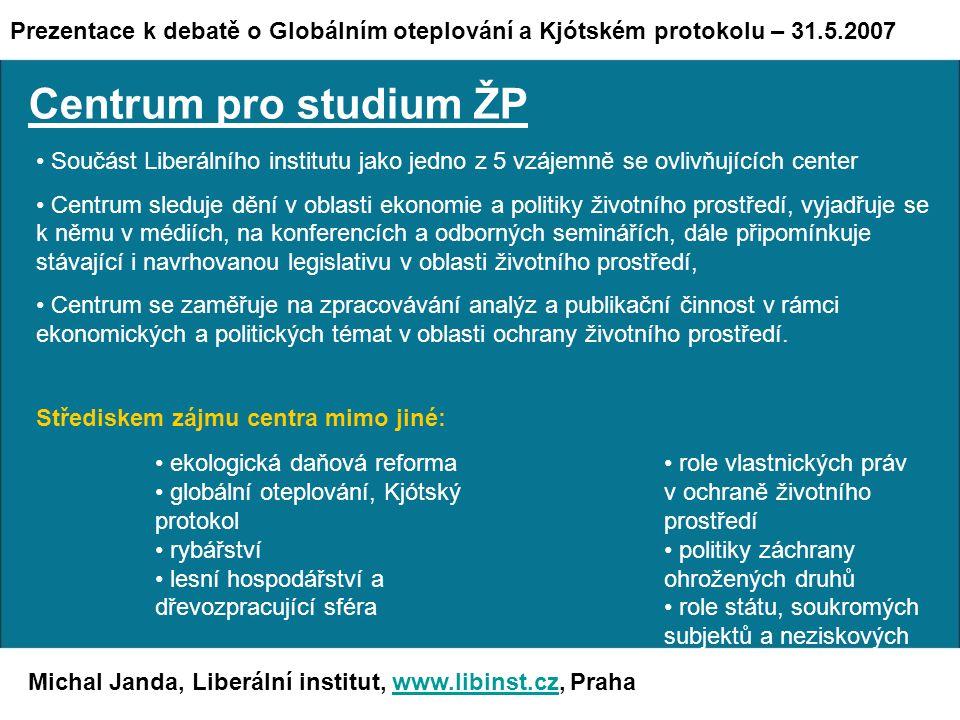 """Michal Janda, Liberální institut, www.libinst.cz, Prahawww.libinst.cz Závěrem """"Není jedinou nadějí planety, že průmyslová civilizace zkolabuje."""