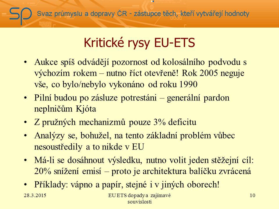 Svaz průmyslu a dopravy ČR - zástupce těch, kteří vytvářejí hodnoty Kritické rysy EU-ETS Aukce spíš odvádějí pozornost od kolosálního podvodu s výchozím rokem – nutno říct otevřeně.