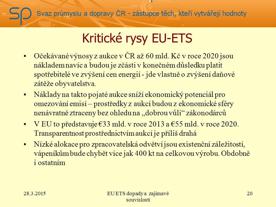 Svaz průmyslu a dopravy ČR - zástupce těch, kteří vytvářejí hodnoty Kritické rysy EU-ETS Očekávané výnosy z aukce v ČR až 60 mld.