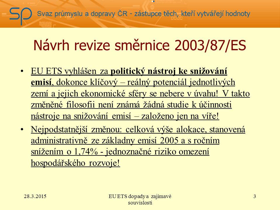 Svaz průmyslu a dopravy ČR - zástupce těch, kteří vytvářejí hodnoty Návrh revize směrnice 2003/87/ES EU ETS vyhlášen za politický nástroj ke snižování emisí, dokonce klíčový – reálný potenciál jednotlivých zemí a jejich ekonomické sféry se nebere v úvahu.