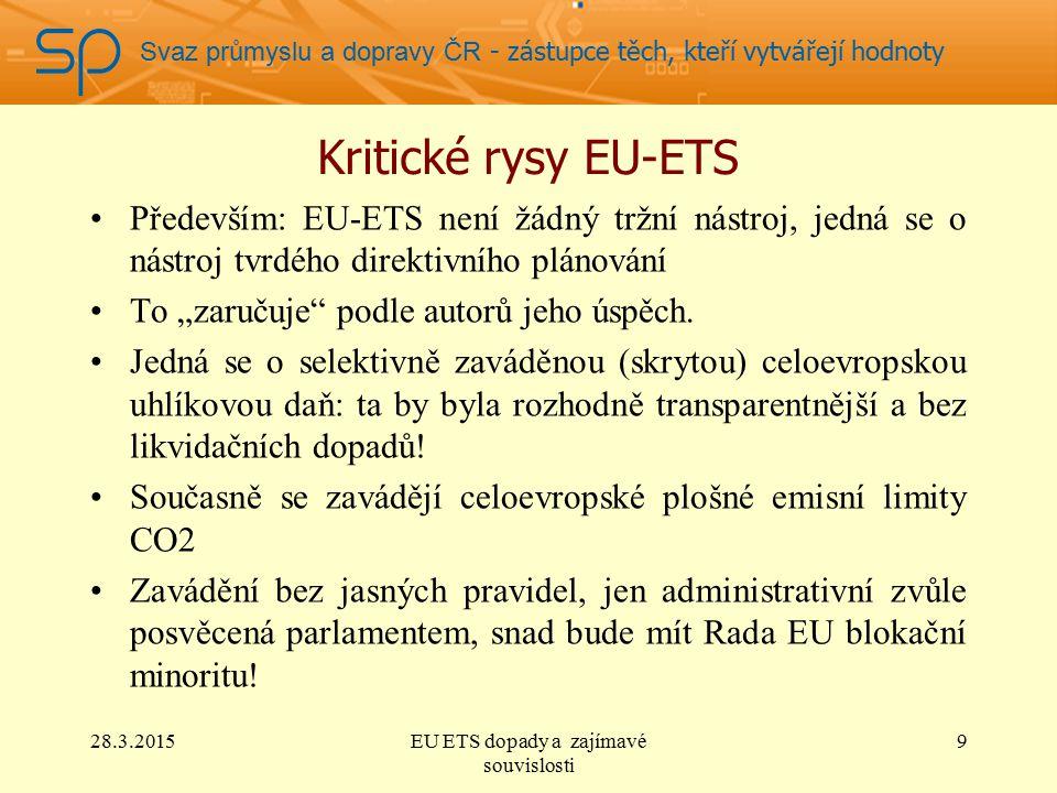 """Svaz průmyslu a dopravy ČR - zástupce těch, kteří vytvářejí hodnoty Kritické rysy EU-ETS Především: EU-ETS není žádný tržní nástroj, jedná se o nástroj tvrdého direktivního plánování To """"zaručuje podle autorů jeho úspěch."""