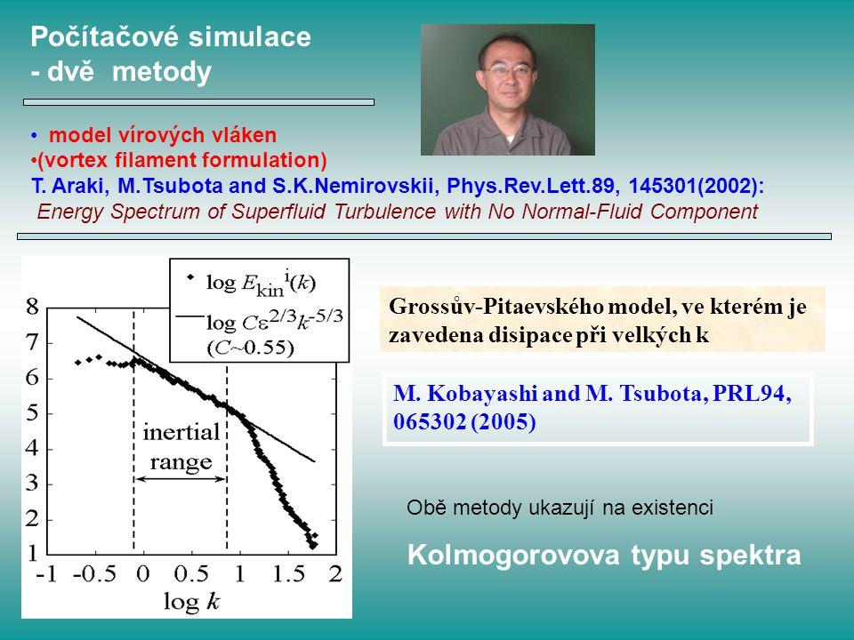 Grossův-Pitaevského model, ve kterém je zavedena disipace při velkých k M. Kobayashi and M. Tsubota, PRL94, 065302 (2005) Počítačové simulace - dvě me