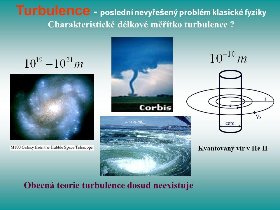 Turbulence - poslední nevyřešený problém klasické fyziky Charakteristické délkové měřítko turbulence ? Kvantovaný vír v He II Obecná teorie turbulence