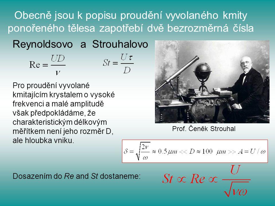 Obecně jsou k popisu proudění vyvolaného kmity ponořeného tělesa zapotřebí dvě bezrozměrná čísla Reynoldsovo a Strouhalovo Pro proudění vyvolané kmita