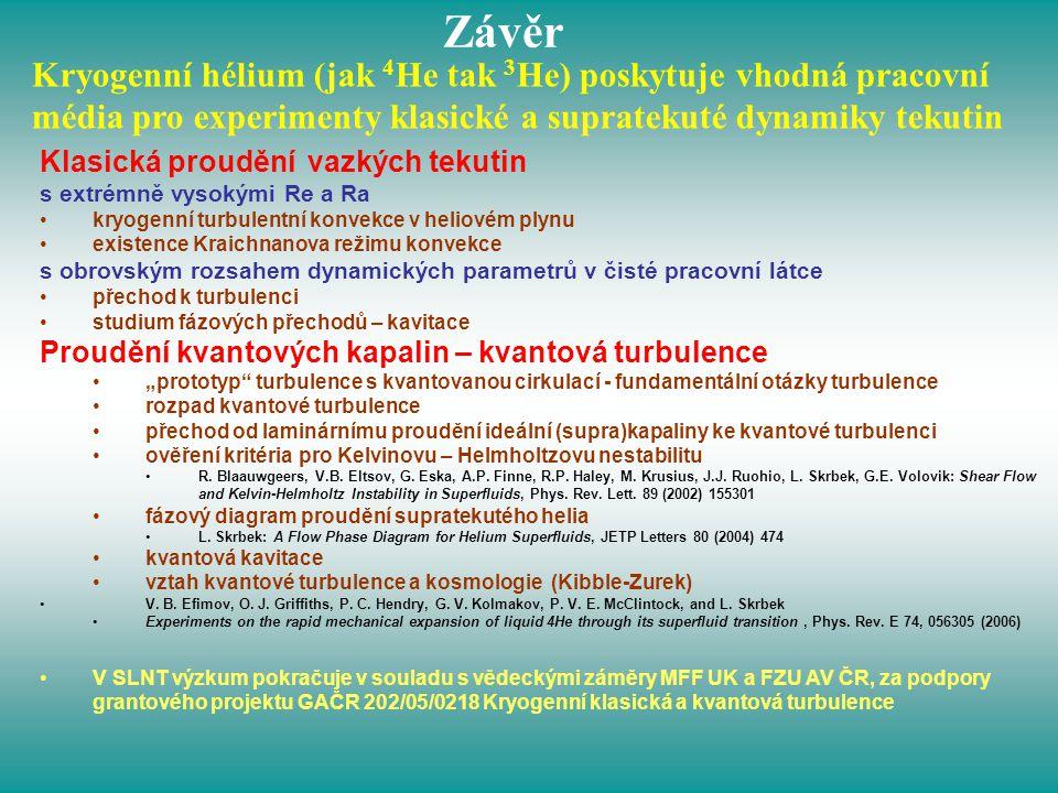 Kryogenní hélium (jak 4 He tak 3 He) poskytuje vhodná pracovní média pro experimenty klasické a supratekuté dynamiky tekutin Závěr Klasická proudění v