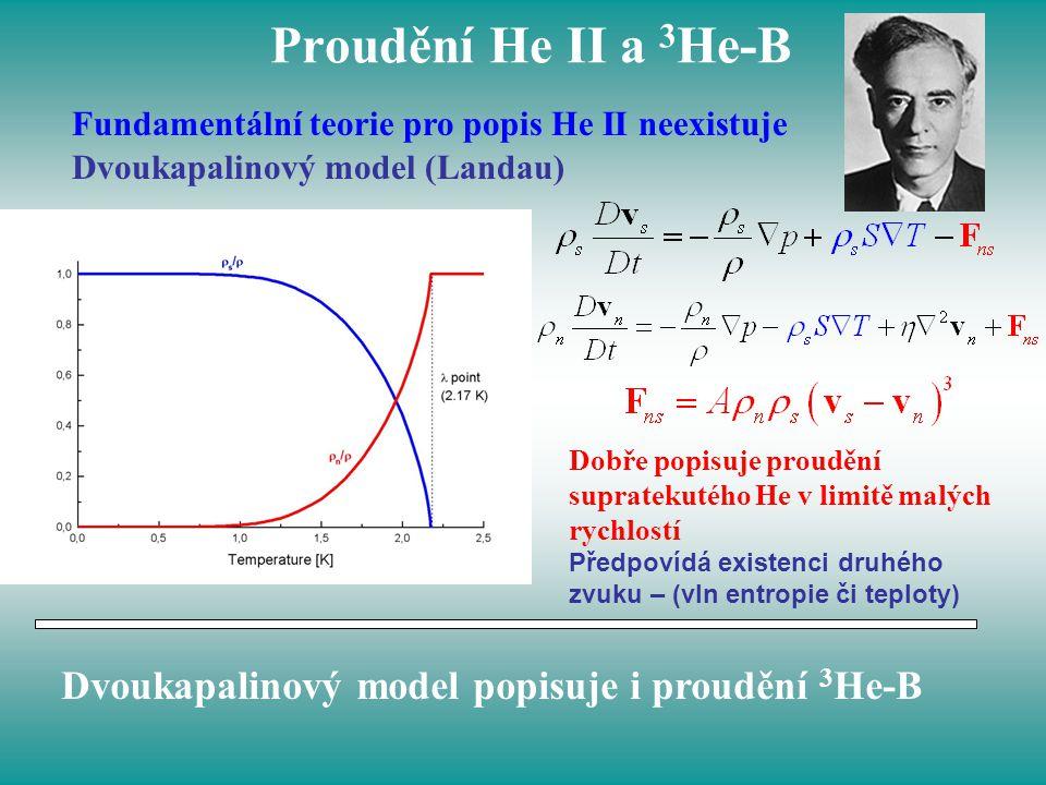 Proudění He II a 3 He-B Fundamentální teorie pro popis He II neexistuje Dvoukapalinový model (Landau) Dobře popisuje proudění supratekutého He v limit